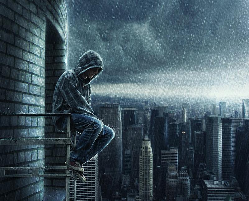 Ảnh con trai rơi lệ dưới mưa