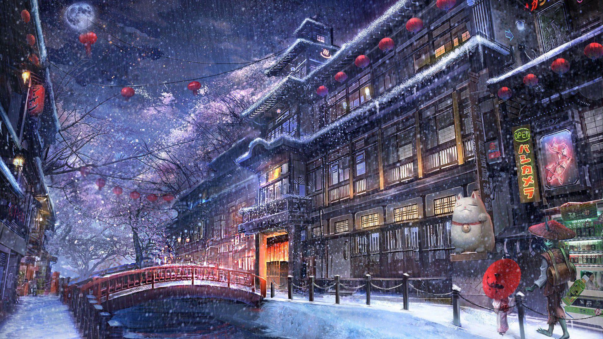 Ảnh đường phố mùa đông anime