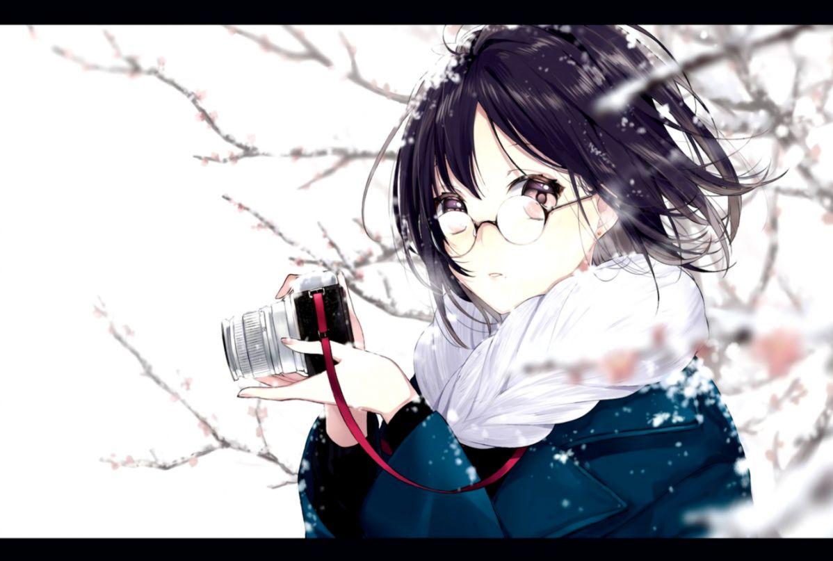 Ảnh girl anime đeo kính đẹp