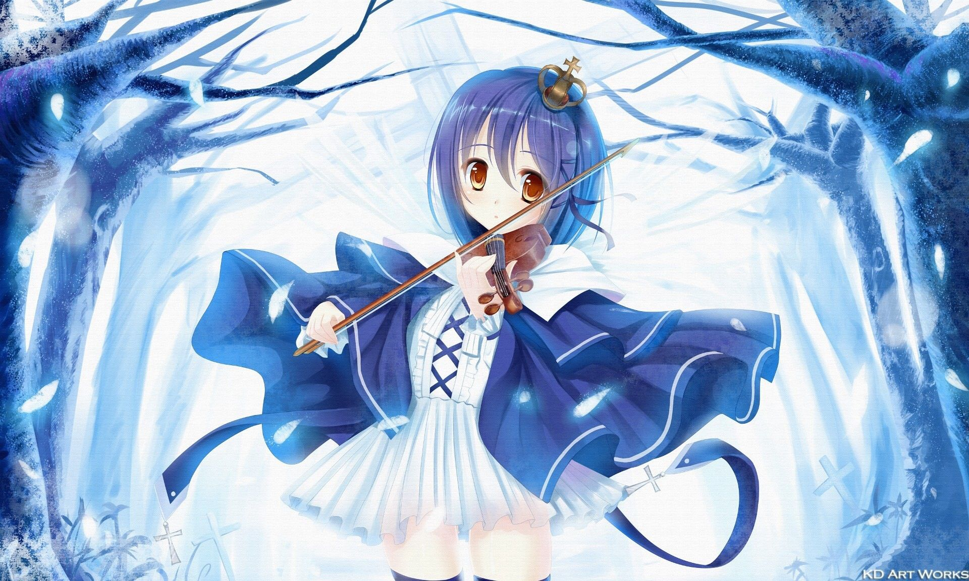 Ảnh girl anime tóc xanh dễ thương, đẹp