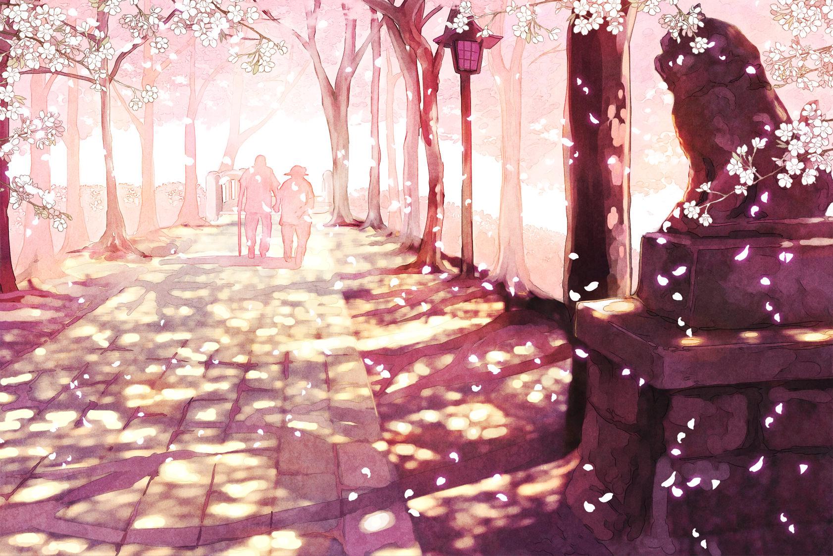 Ảnh hoa anh đào đẹp, thơ mộng trong anime