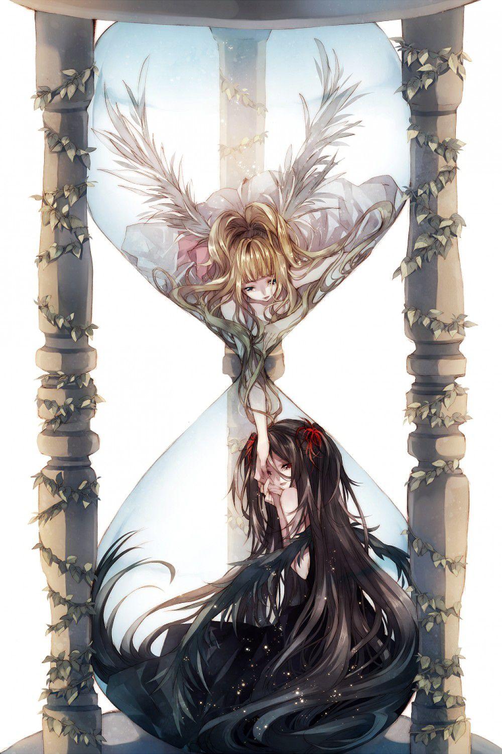 Ảnh Thiên thần và Ác Quỷ Anime trong đồng hồ cát