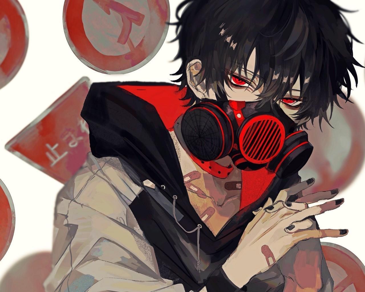 Anime boy black hair red eyes