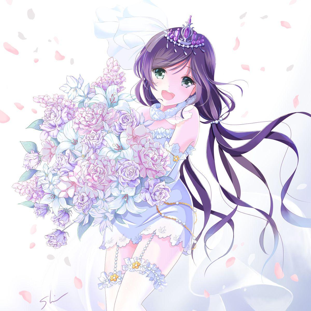 Anime cô gái tóc tím mặc váy cưới