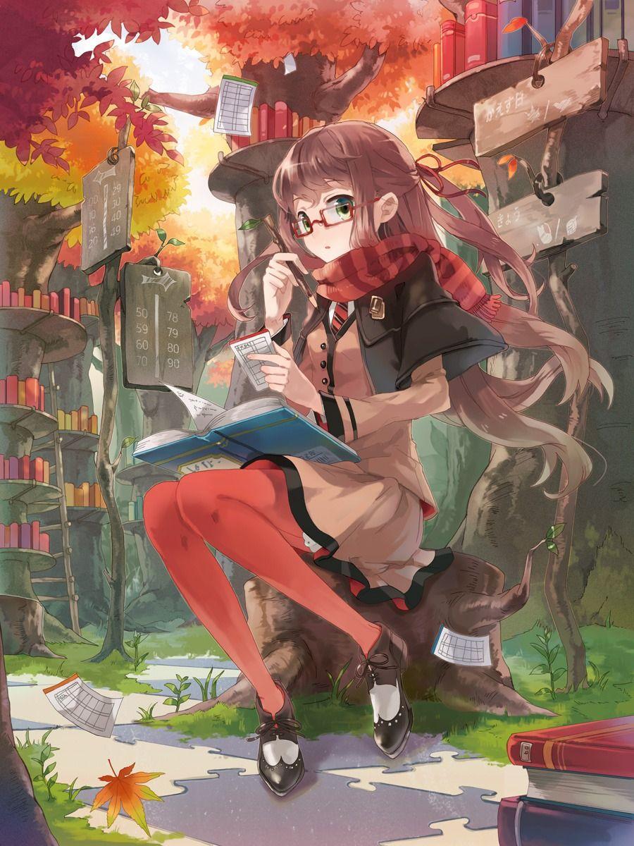 Anime girl đeo kính xinh đẹp