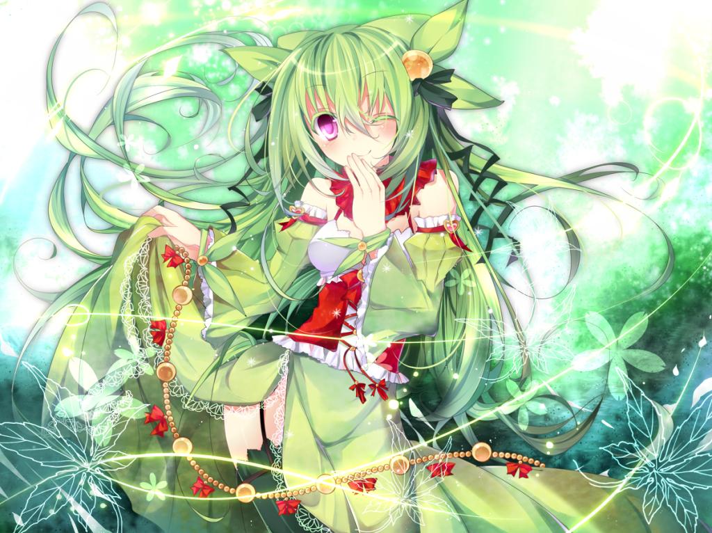 Anime girl green hair nature