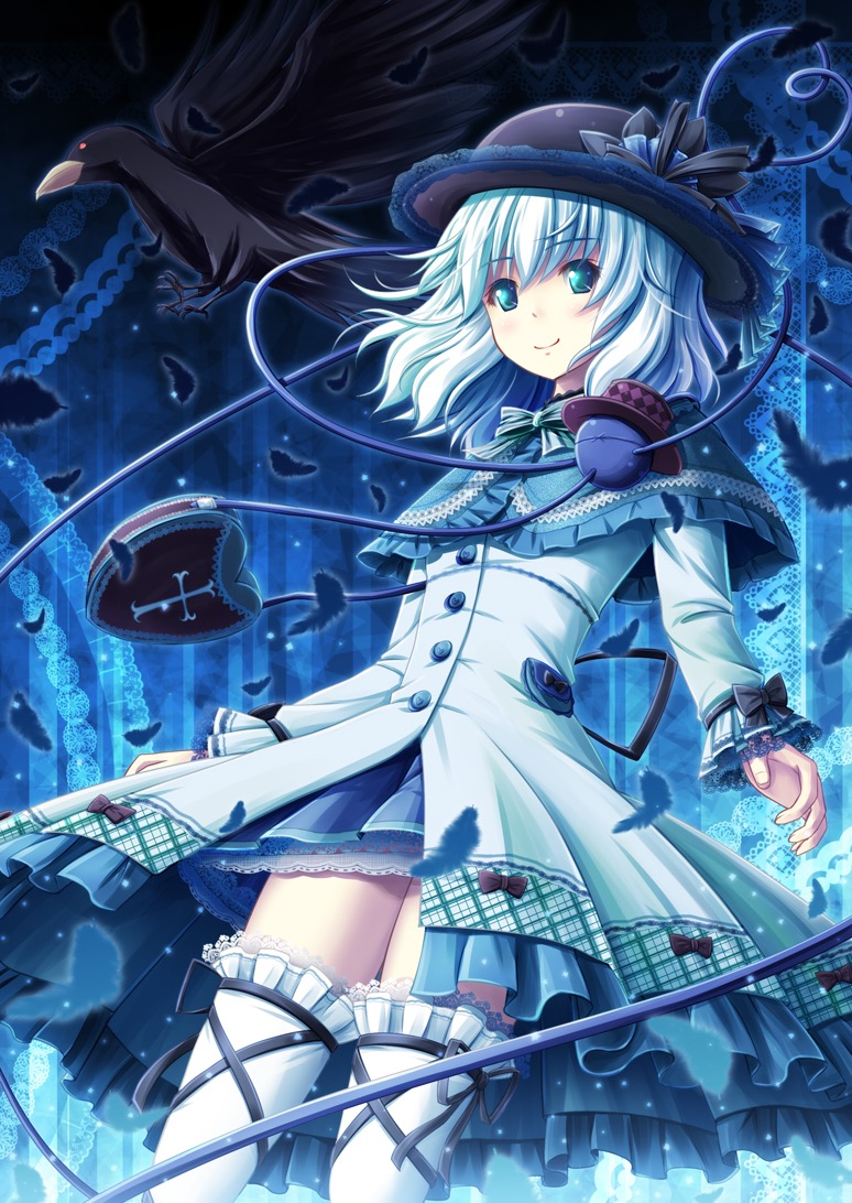 Anime girl tóc xanh dương lạnh lùng bí ẩn
