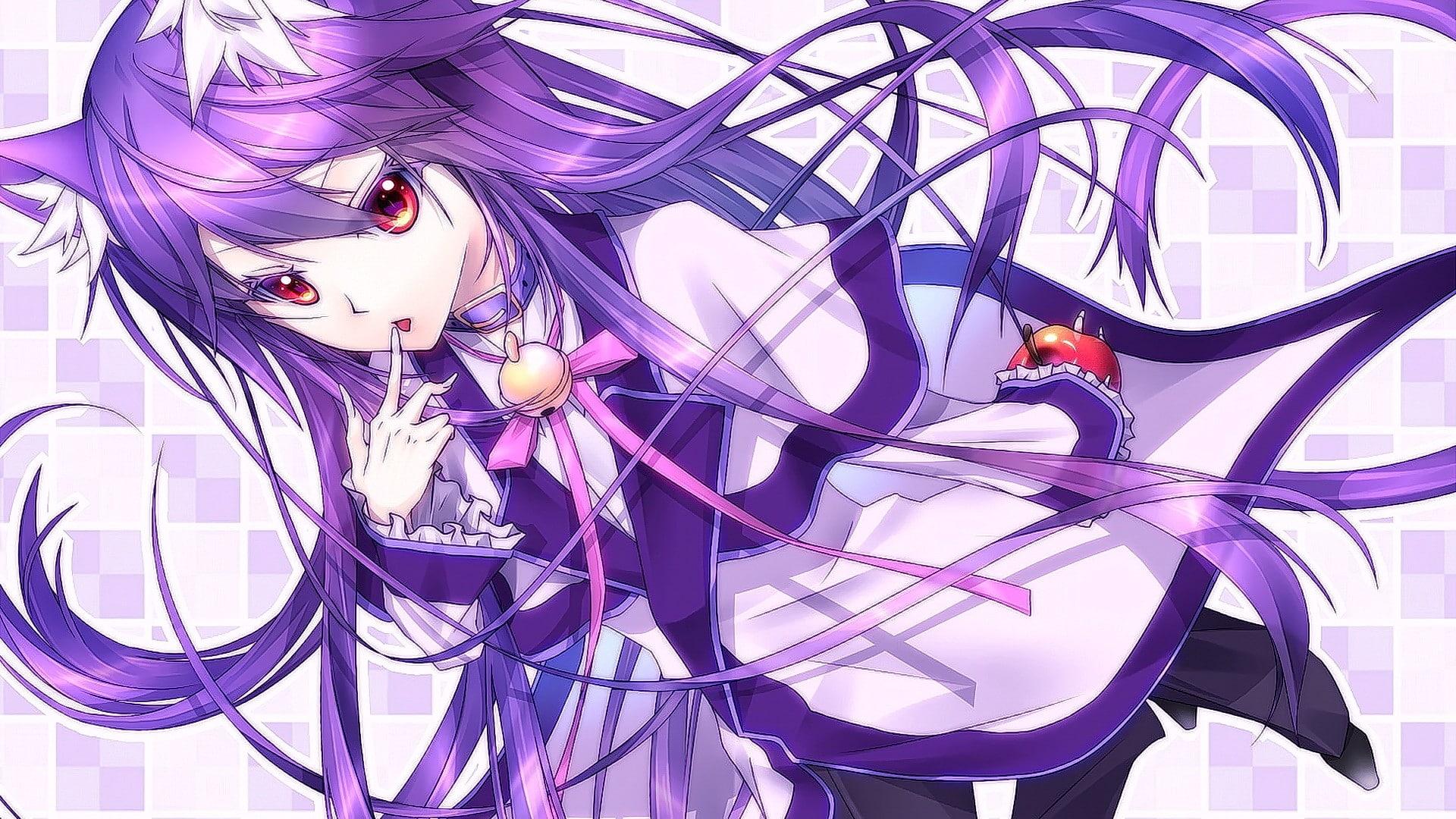 Anime girls violet hair wallpaper