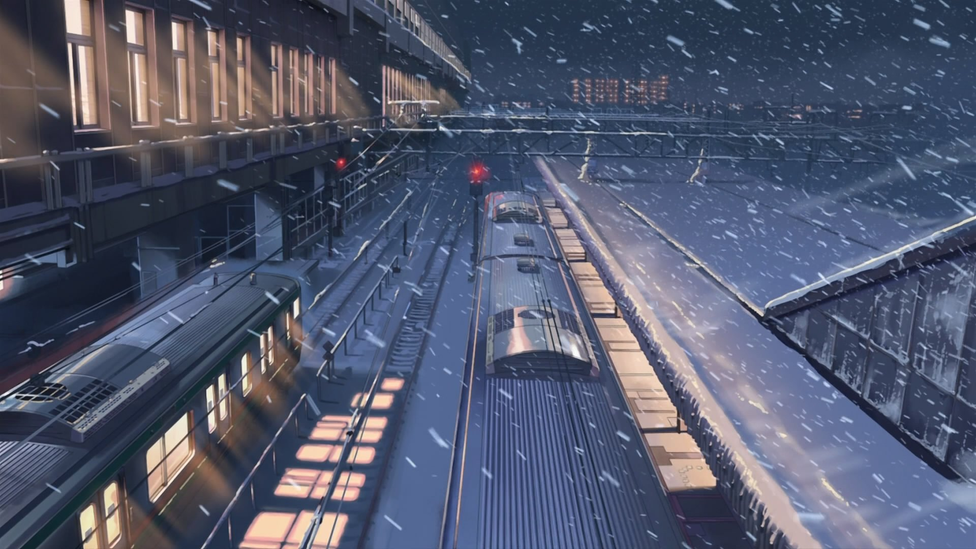 Anime  train station in winter