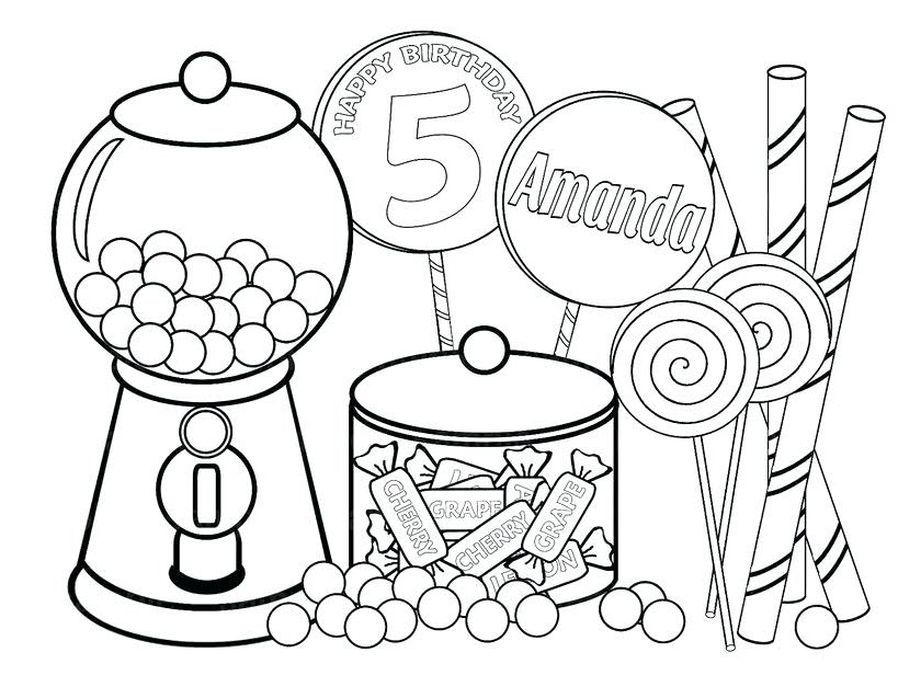 Candy cute food coloring pages