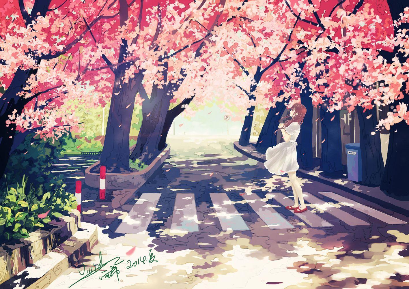 Cảnh hoa anh đào trong anime đẹp nhất