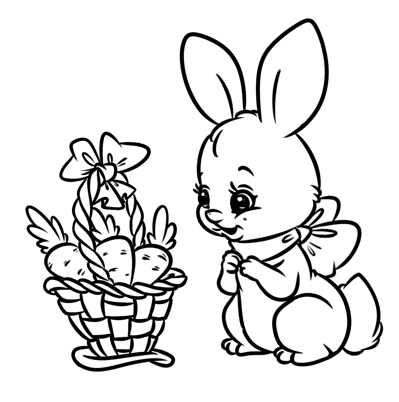 Carrot cute coloring page