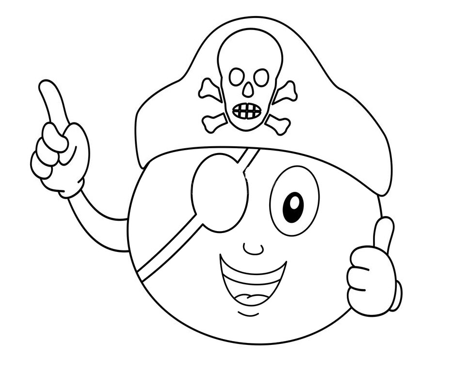 Coloring Pirate Orange With Eye Patch and Hat