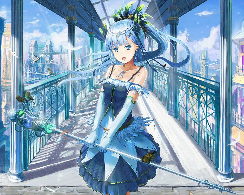 Fantasy anime girl with blue hair