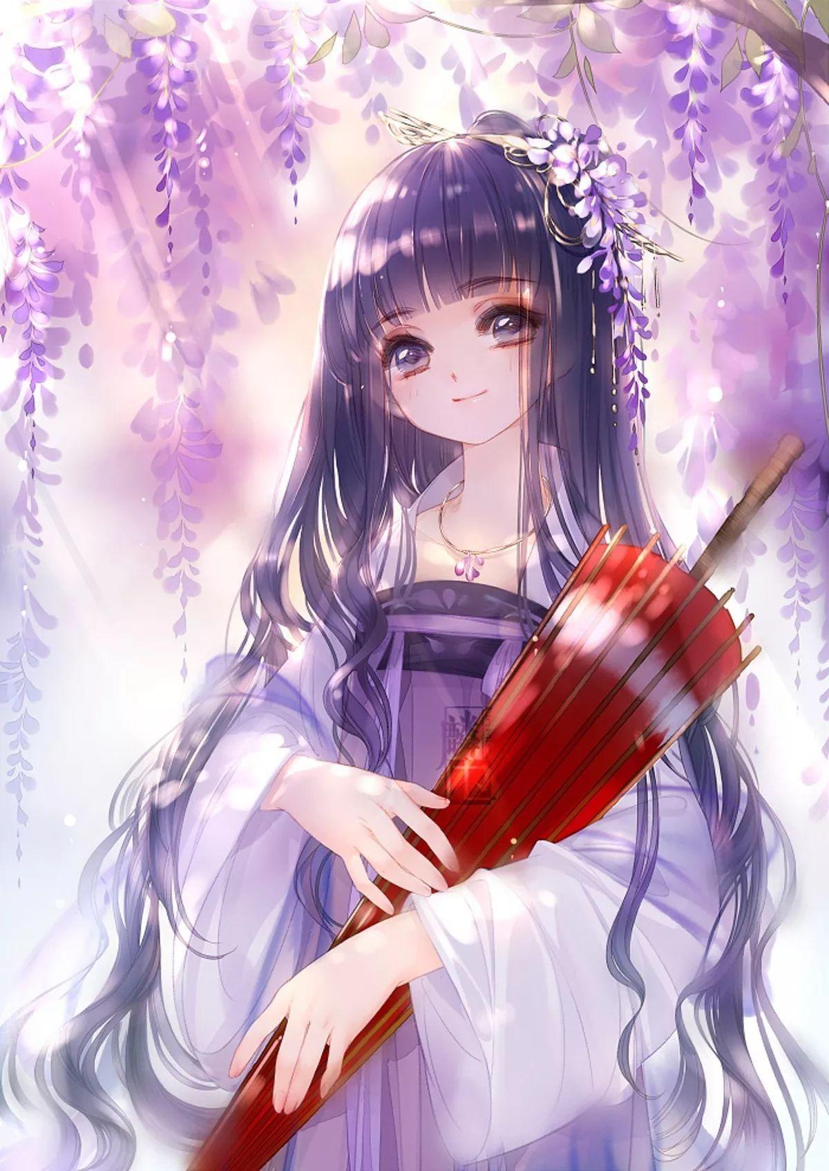 Girl tóc tím bên hoa tử đằng ảnh anime