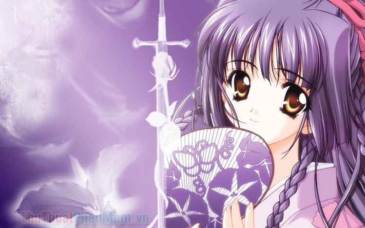 Hình ảnh Anime girl tóc tím đẹp