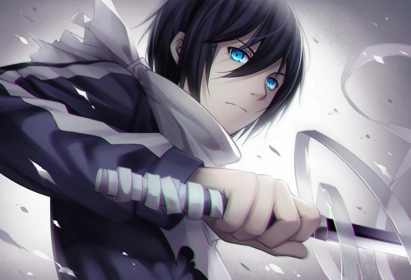 Hình anime boy tóc đen cầm kiếm lạnh lùng