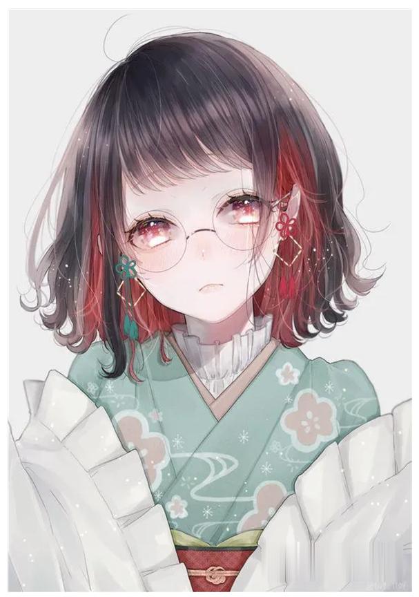 Hình anime đeo kính cute