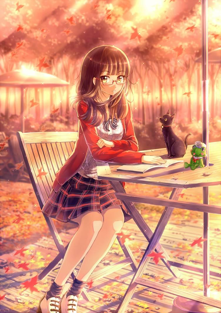 Hình anime girl đeo kính học bài