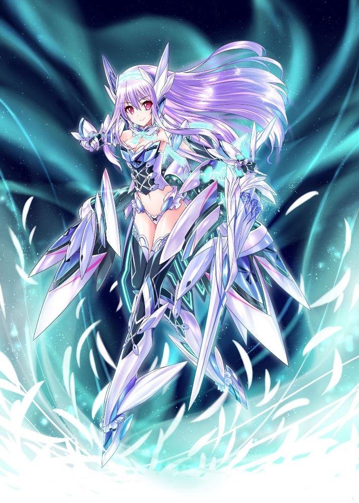 Hình anime girl tóc tím chiến đấu
