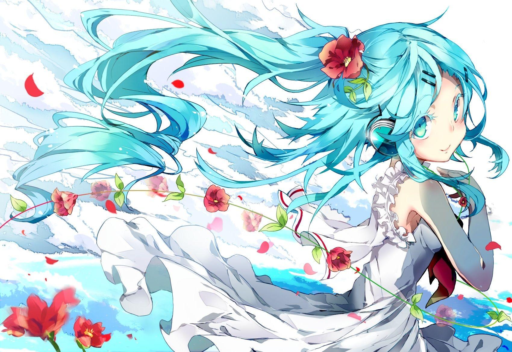Hình anime girl tóc xanh dương đẹp