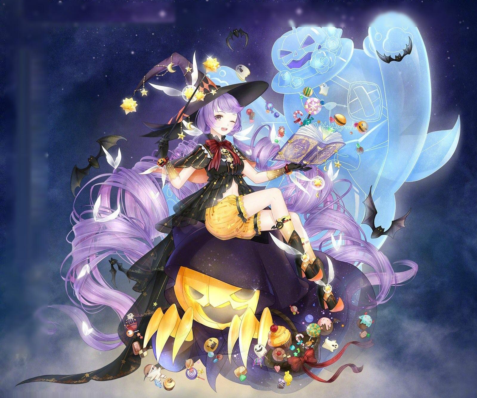 Hình anime Hallowen girl tóc tím