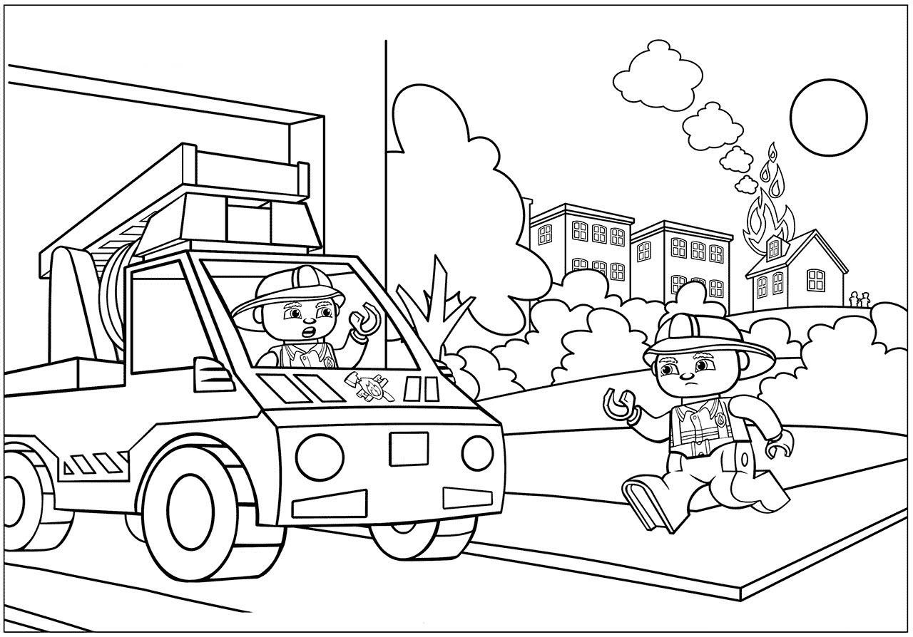 Hình tô màu xe cứu hỏa đi chữa cháy