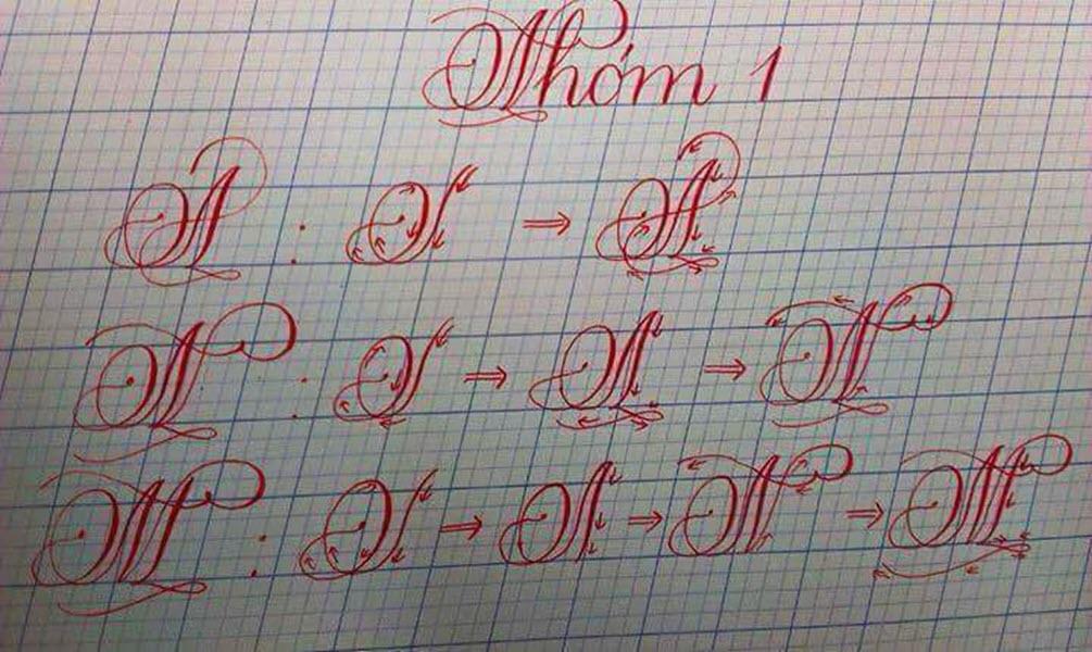 Mẫu chữ A, N, M viết hoa đẹp