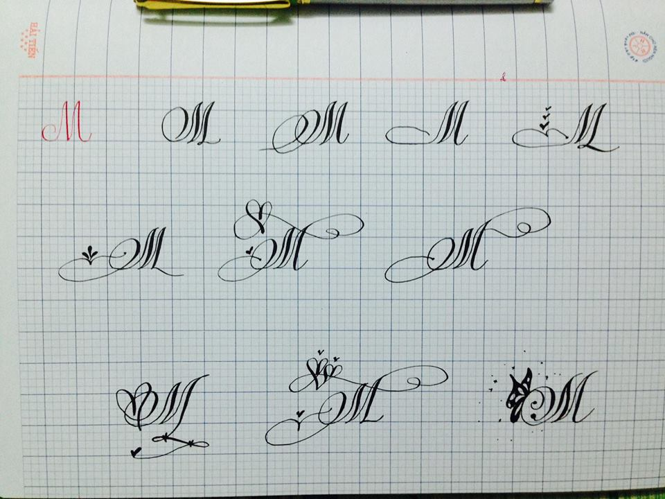Mẫu chữ M in hoa sáng tạo đẹp