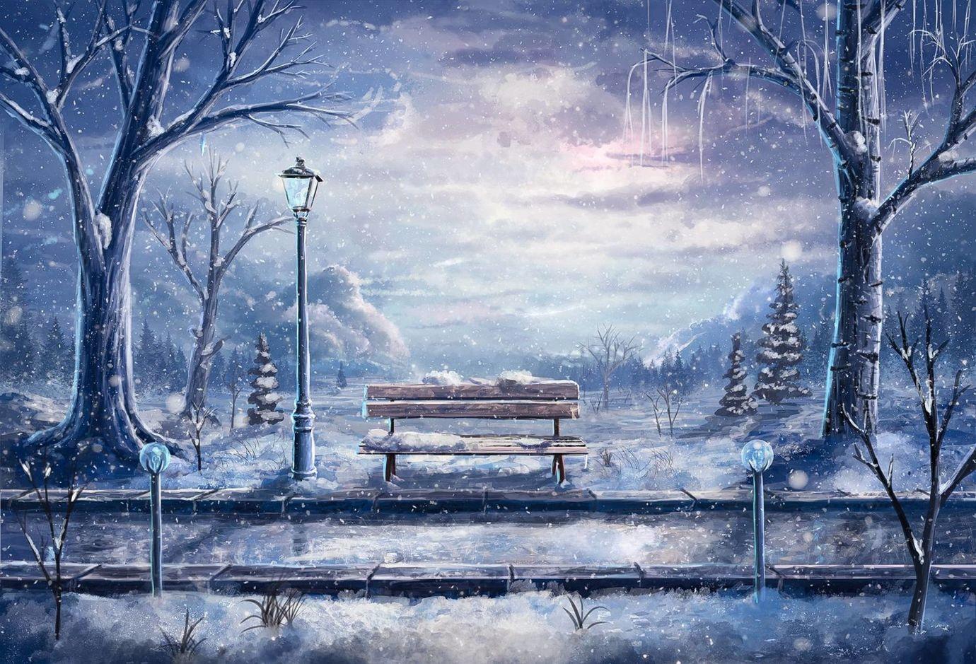 Scenery anime winter background