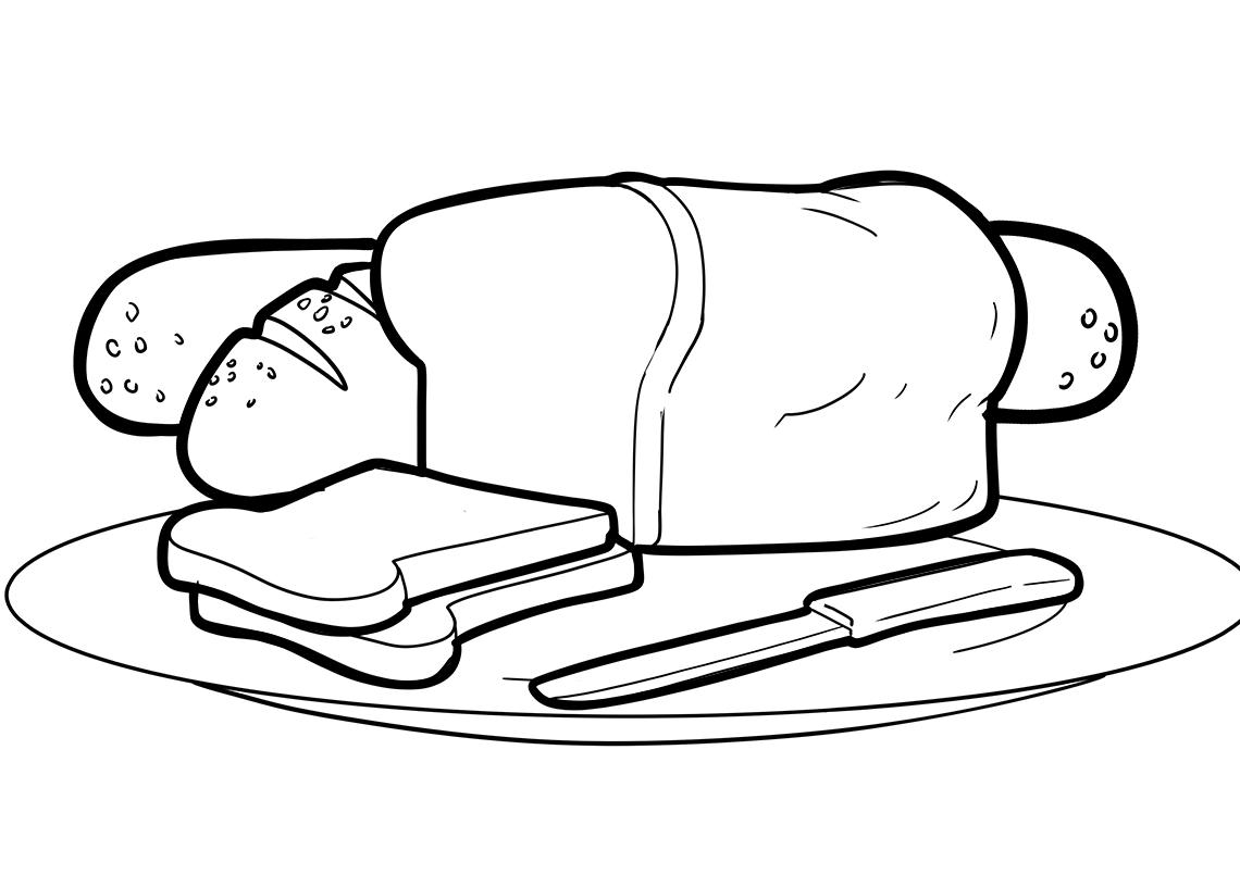 Tranh tô màu bánh mì