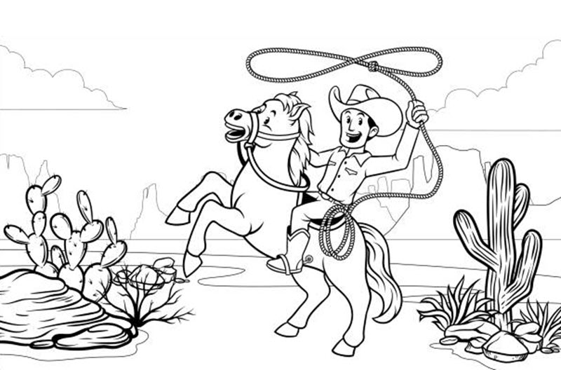 Tranh tô màu cao bồi cưỡi ngựa đẹp