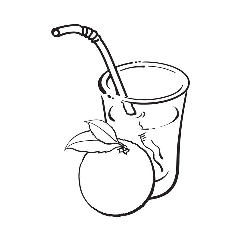 Tranh tô màu cốc nước và quả cam