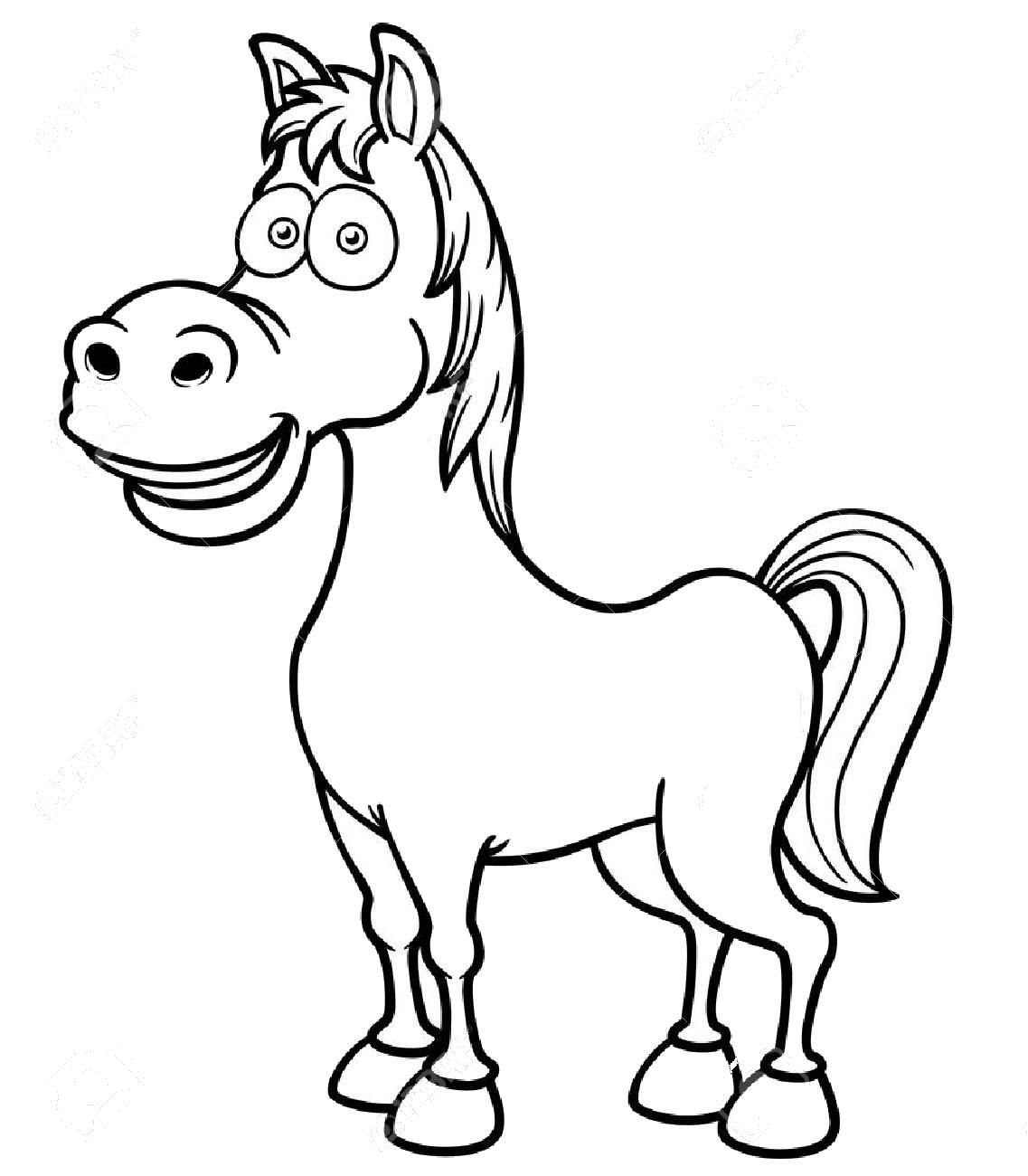 Tranh tô màu con ngựa hoạt hình đẹp nhất