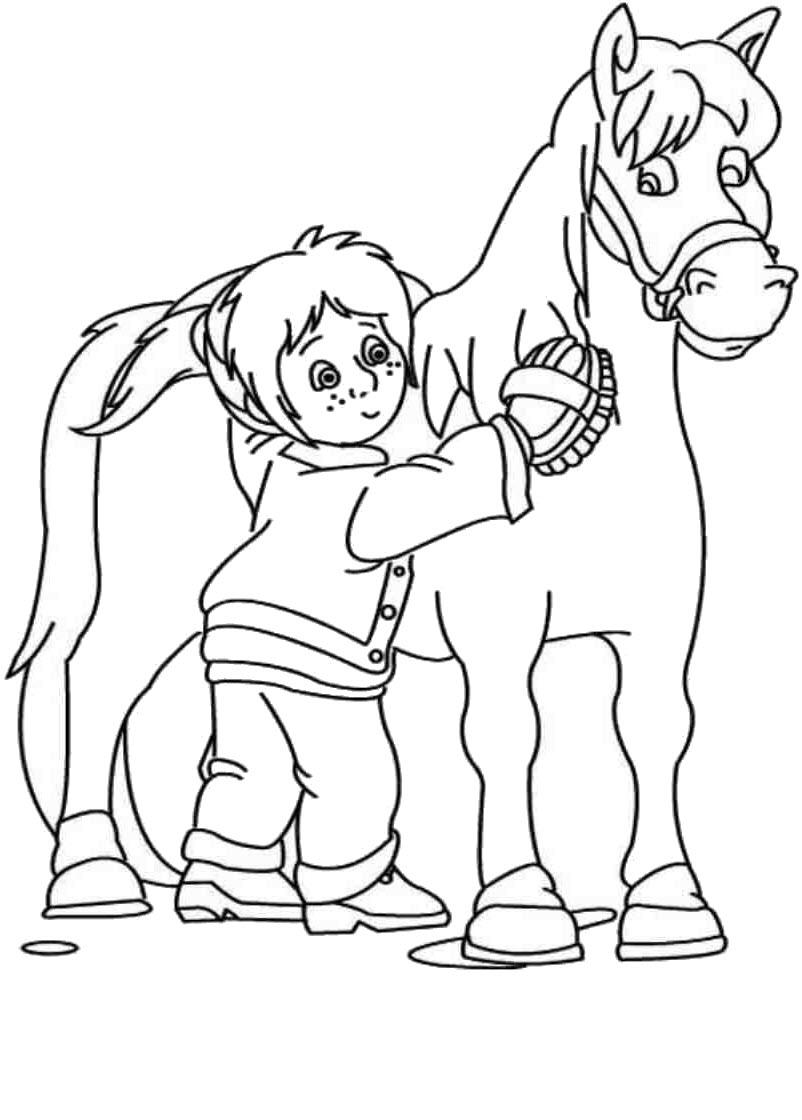 Tranh tô màu con ngựa và cậu bé đẹp