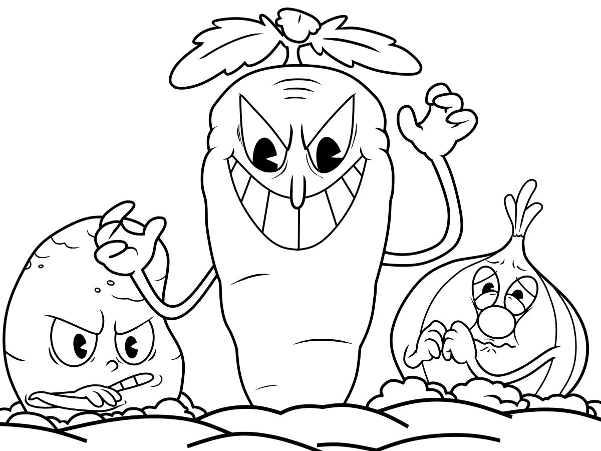 Tranh tô màu củ cà rốt có vẻ mặt đáng sợ