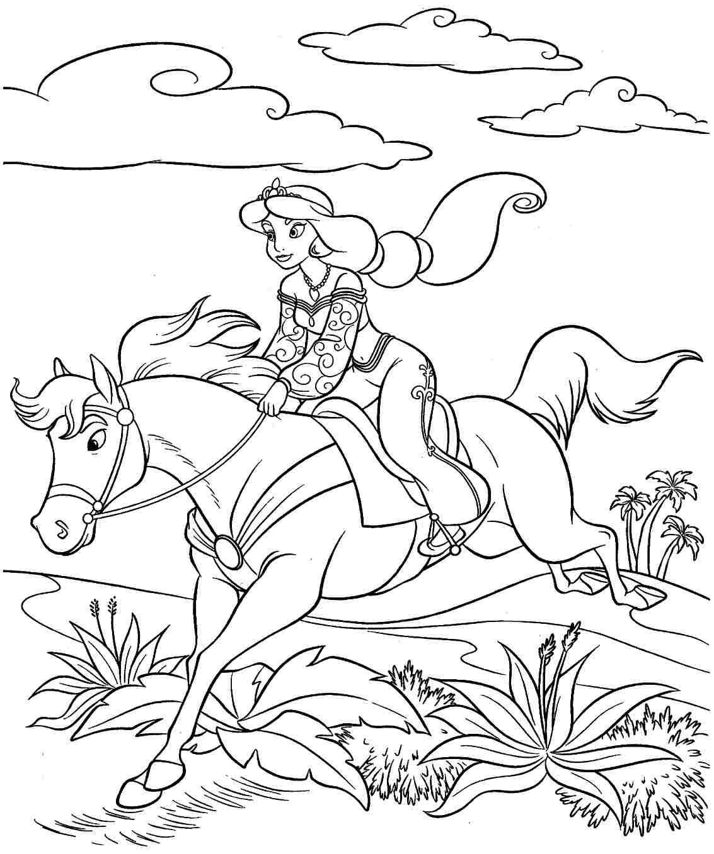Tranh tô màu cưỡi ngựa cho bé gái