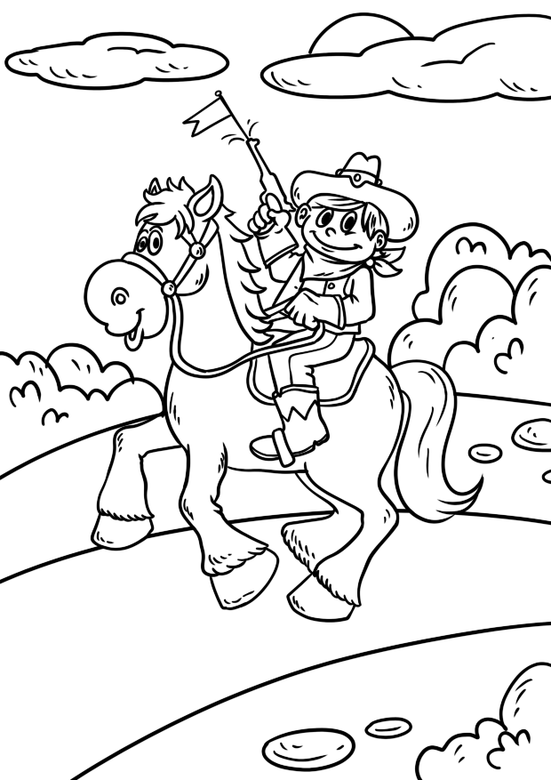 Tranh tô màu cưỡi ngựa đẹp