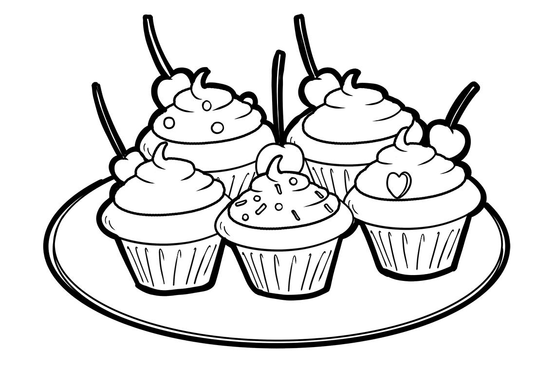 Tranh tô màu đĩa bánh kem đơn giản