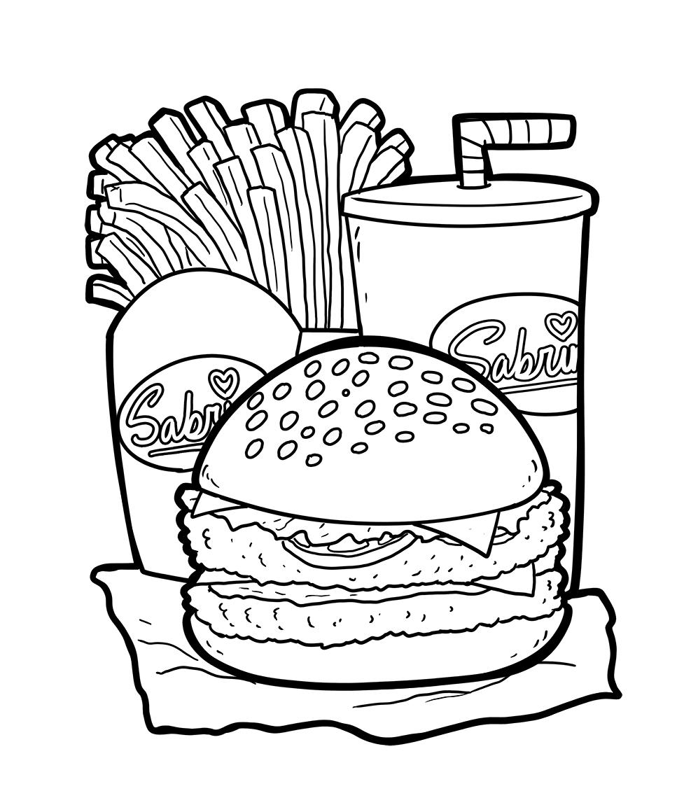 Tranh tô màu đồ ăn nhanh