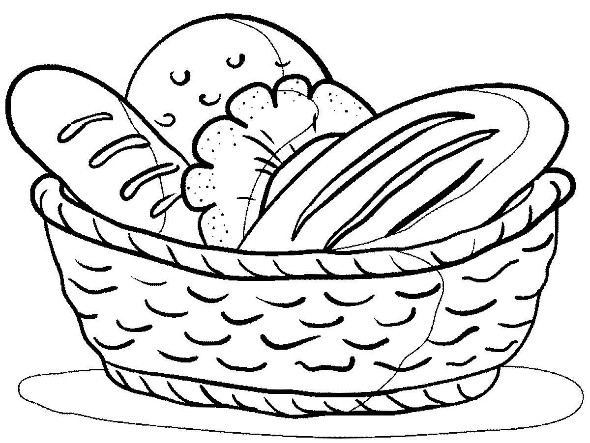 Tranh tô màu hình giỏ đồ ăn