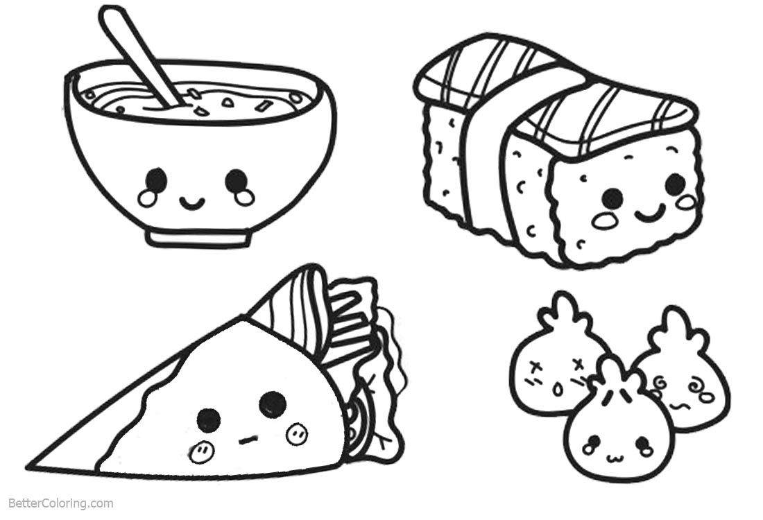 Tranh tô màu món ăn dễ thương