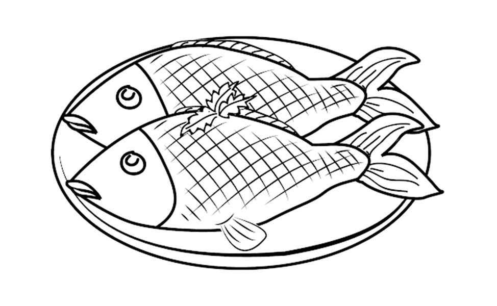 Tranh tô màu món cá rán đơn giản