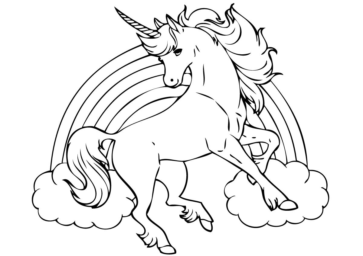 Tranh tô màu ngựa một sừng đẹp