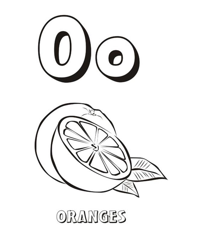 Tranh tô màu poster quả cam