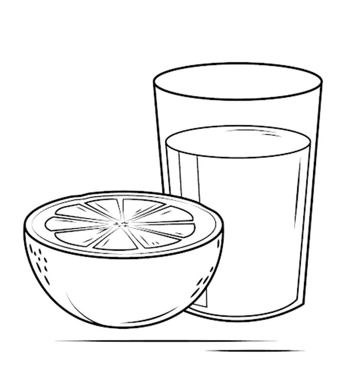 Tranh tô màu quả cam cùng cốc nước
