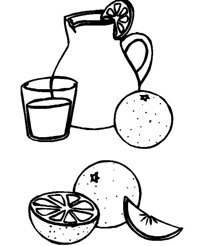 Tranh tô màu quả cam và bình nước