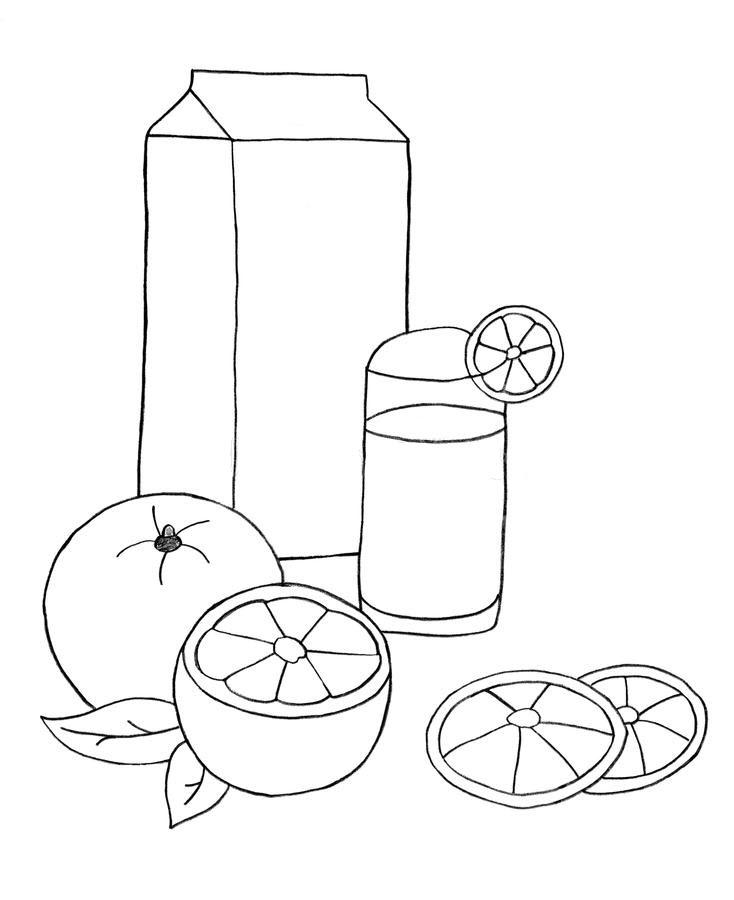 Tranh tô màu quả cam và cốc nước cam ép