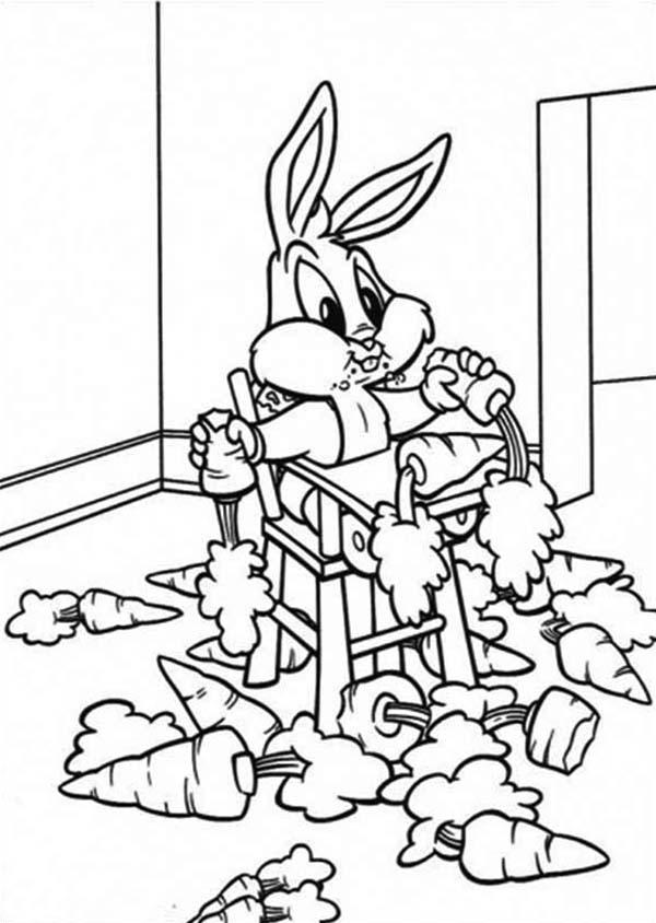 Tranh tô màu thỏ ăn cà rốt ngộ nghĩnh