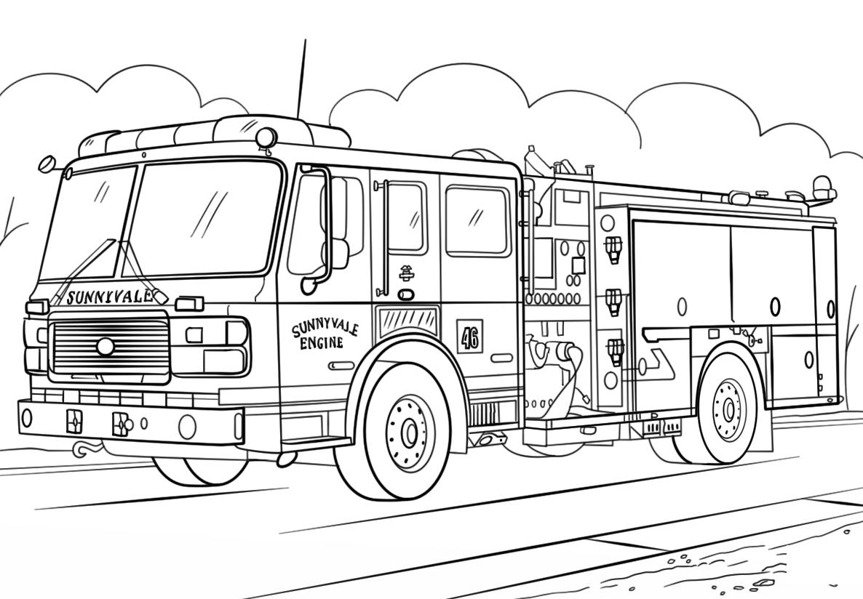 Tranh tô màu xe cứu hỏa đẹp cho bé